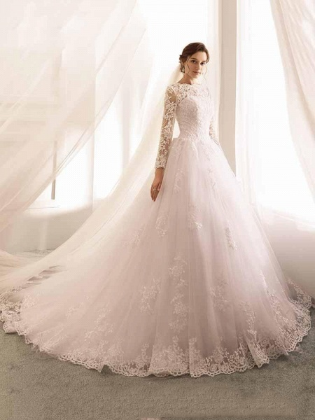 Long Sleeves Lace Tulle Mermaid Wedding Dresses_1