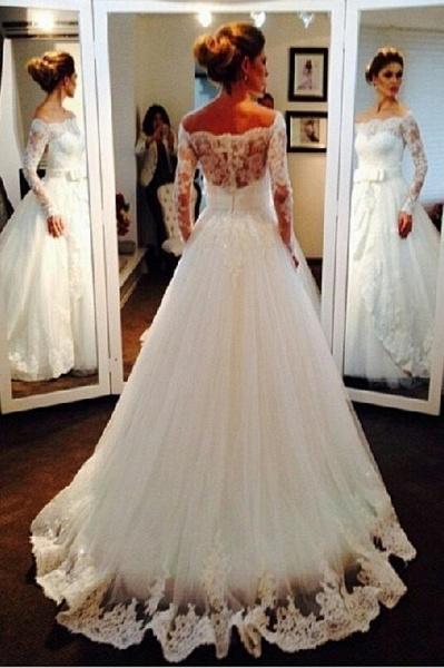 Elegant Tulle Lace Off-the-shoulder Long Sleeve Wedding Dress_1