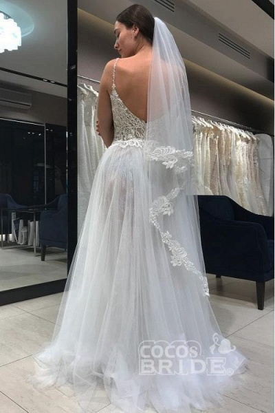 Spaghetti Strap Long Tulle with Lace Simple Backless Beach Wedding Dress_2