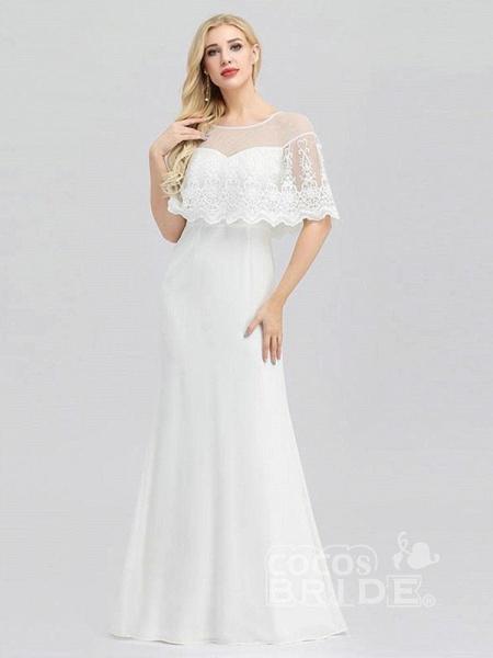 Modest O-Neck Zipper Floor-Length Mermaid Wedding Dresses_3