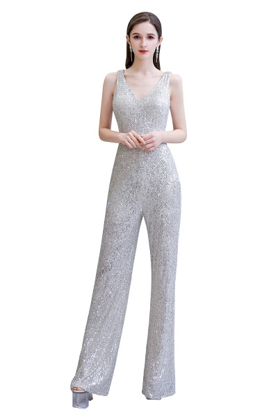 Sexy Shining V-neck Sleeveless Prom Jumpsuit with Silver Sequins_26