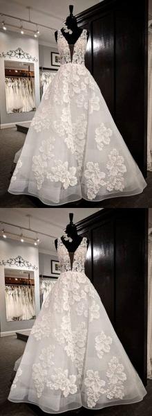 White Tulle V Neck Flower Lace Applique Long Wedding Dress_2
