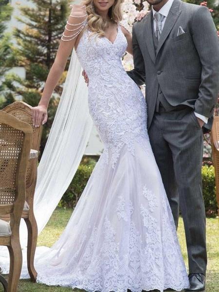 Gorgeous V-Neck Lace Mermaid Wedding Dresses_1