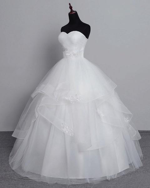 White Tulle Layered Strapless Vintage Wedding Dress_3