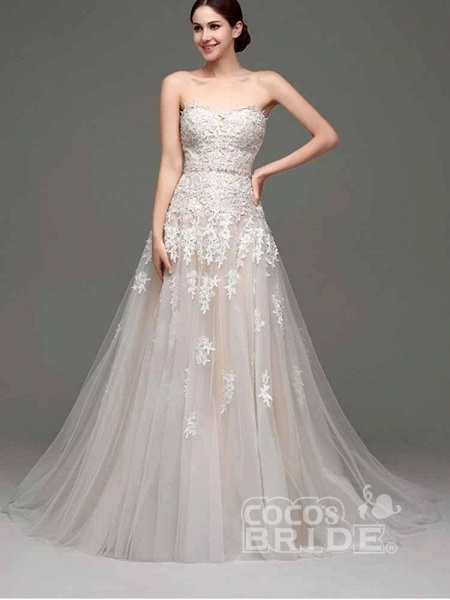 Elegant Sweetheart Beaded Lace Tulle Wedding Dresses_6