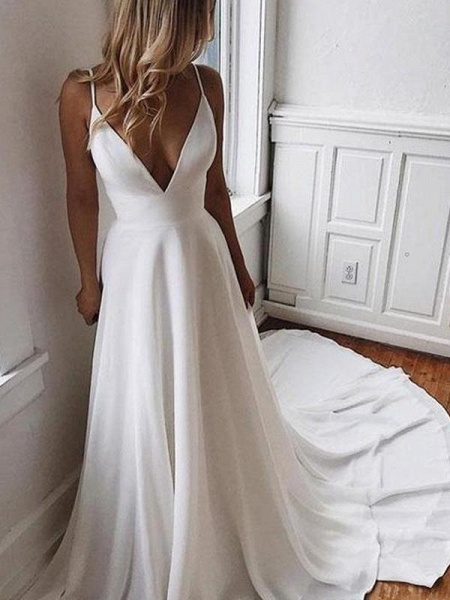 Simple V Neck Chiffon A Line Covered Button Boho Wedding Dresses_1