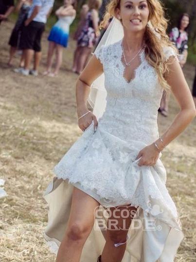 V Neck Cap Sleeves Floor Length Lace Wedding Dresses_2