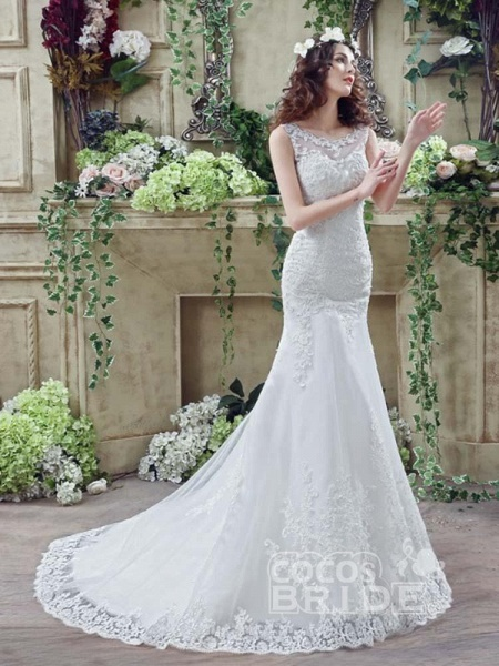 Elegant Beaded Tulle Mermaid Wedding Dresses_2