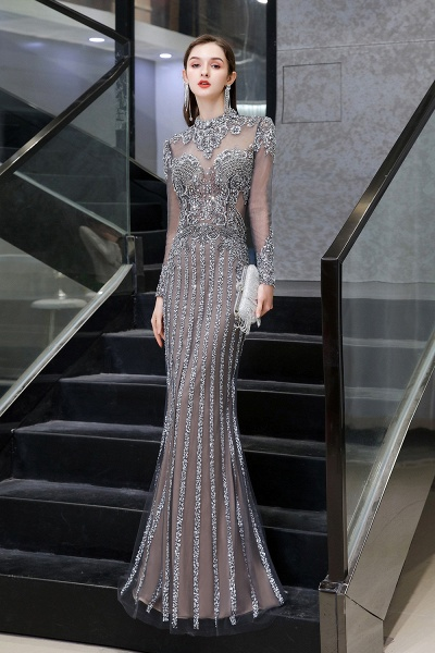 Long Sleeve Mermaid Sequins High-Neck Evening Gowns_2