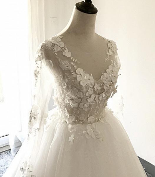 White Tulle 3D Lace Applique Open Back Long Wedding Dress_4