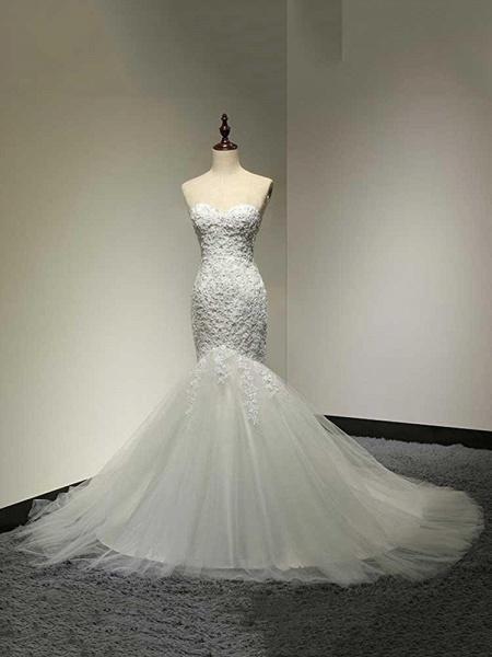 Fashion Sweetheart Mermaid Tulle Wedding Dresses_1