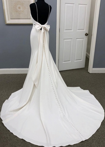 Ivory Satin Spaghetti Straps Open Back Sweet Train Wedding Dress_2