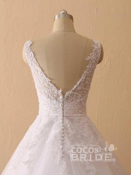 Gorgeous Spaghetti Strap V-Neck Backless Wedding Dresses_6