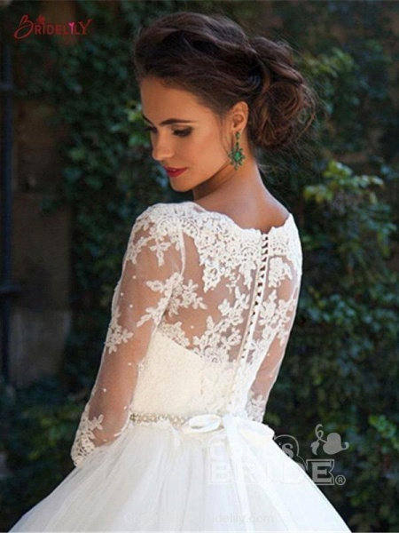 Gorgeous Half Sleeves Covered Button Ball Gown Wedding dresses_4