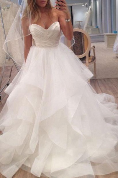 A Line Ivory Sweetheart Strapless Layered Tulle Long Beach Wedding Dress_1