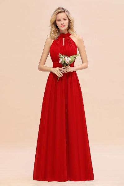 BM0758 Glamorous High-Neck Halter Bridesmaid Affordable Dresses with Ruffle_8