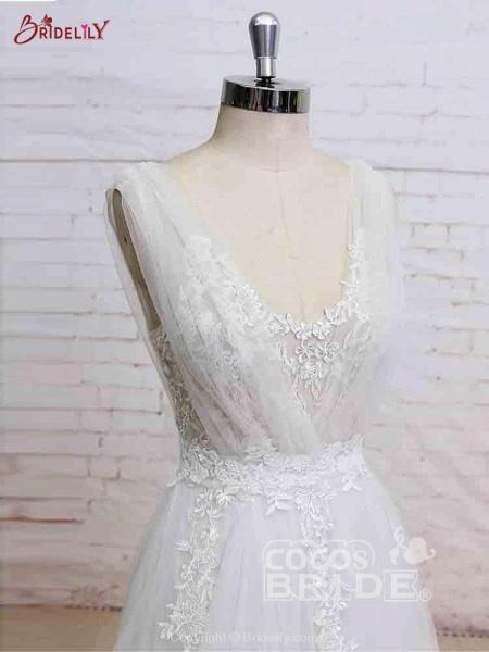Glamorous V-Neck Backless Floor-Length Wedding Dresses_5