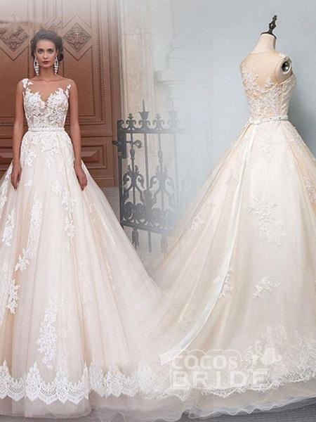 Elegant Bateau Lace Appliques Ribbon Wedding Dresses_6