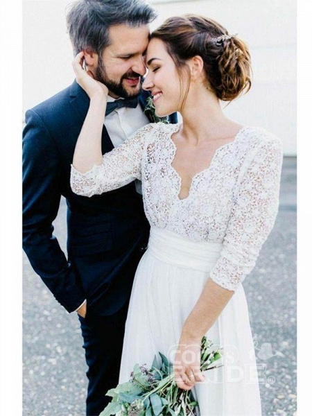 Romantic V Neck Chiffon Lace A Line Wedding Dresses_5