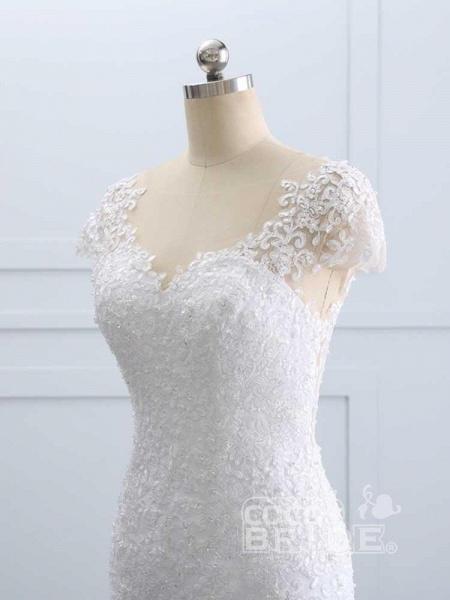 Cap Sleeves Lace Mermaid Tulle Wedding Dresses_6