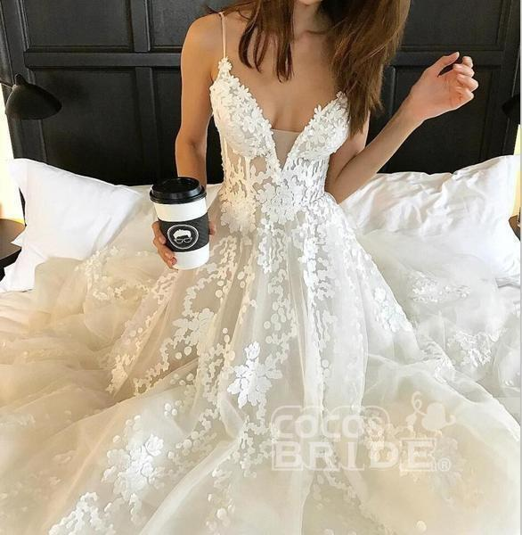 Spaghetti Strap V Neck Beach Court Train Tulle Wedding Dress with Lace_3