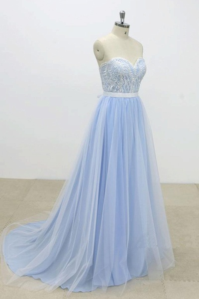 Aqua Blue And Ivory Tulle Strapless Long Lace Wedding Dress_3
