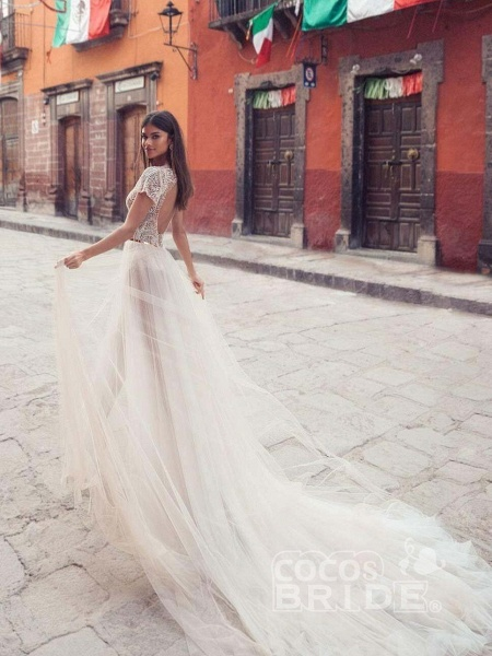 V Neck Backless Lace Tull Boho Wedding Dresses_2