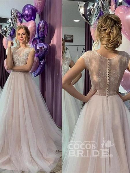 Romantic Short Sleeve Lace A-Line Wedding Dresses_2