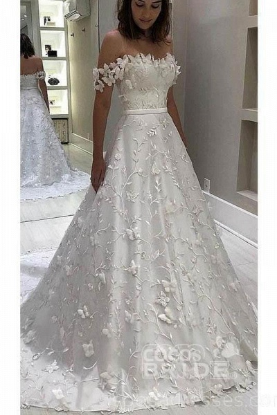 Gorgeous Off the Shoulder Lace White Long Wedding Dress_2
