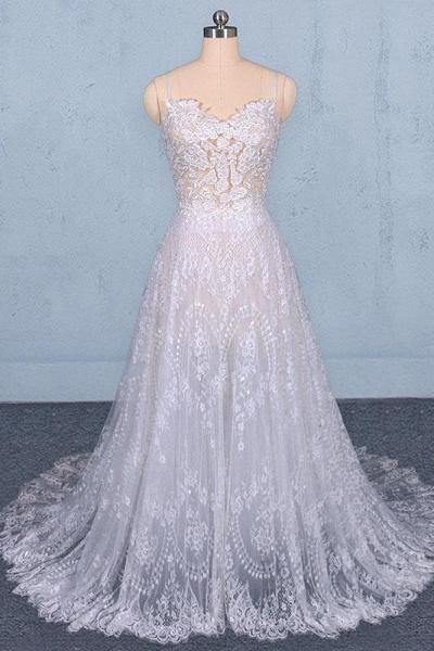 Spaghetti Straps Sweetheart Lace Wedding Dress_1