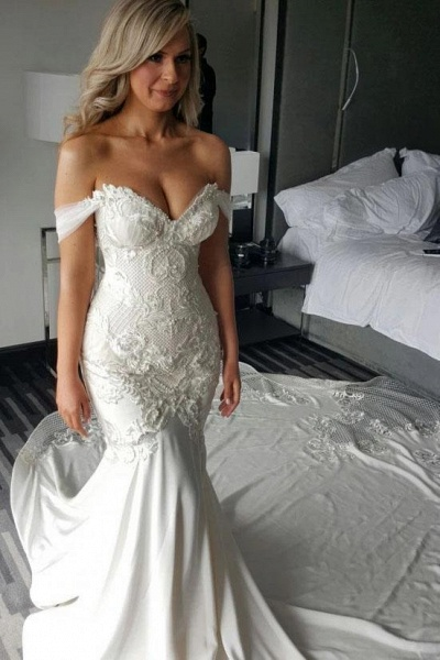 Gorgeous Mermaid Off the Shoulder Lace Appliques Wedding Dress_1