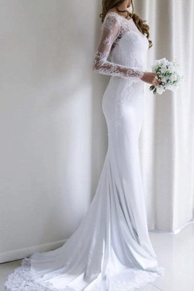 Elegant Illusion Lace Long Sleeves Mermaid Wedding Dress_1