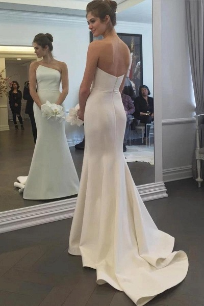Simple Strapless Mermaid Long Elegant Ivory Sweep Train Wedding Dress_1