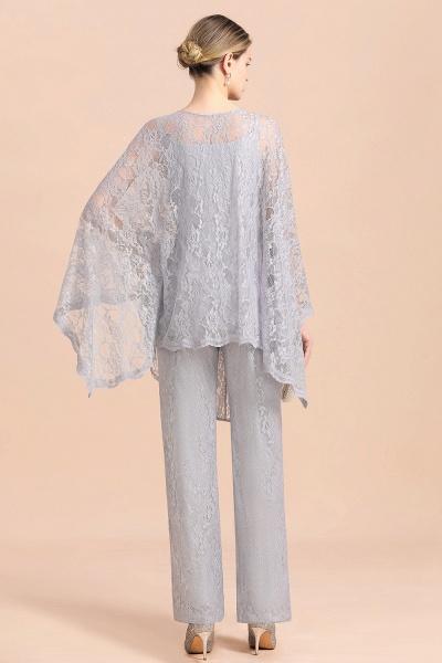 V-Neck Straps Appliques Silver Lace Wraps Mother of Bride Jumpsuit_3