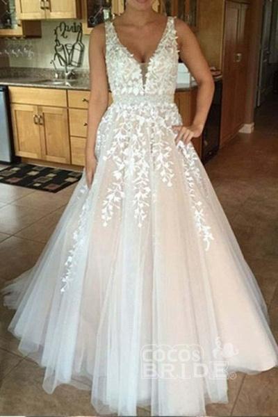 A-line V Neck Sexy Lace Appliques Long Wedding Dress_4