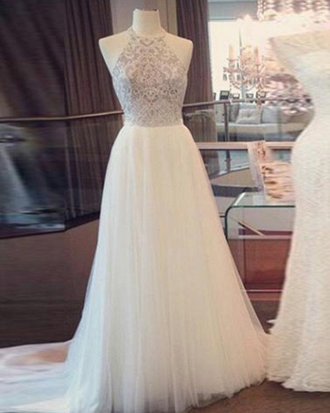 Simple White Tulle Open Back Long Lace Wedding Dress_2