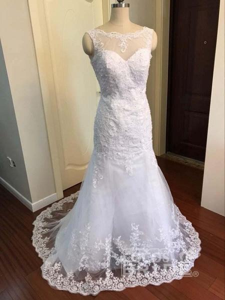 Elegant Beaded Tulle Mermaid Wedding Dresses_5
