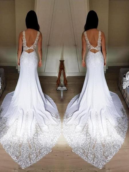 V-Neck Lace Mermaid Wedding Dresses_1