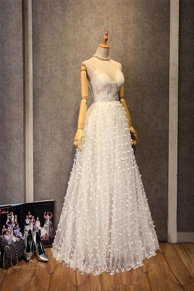 Sweetheart Long Spaghetti Straps Wedding Dress_3