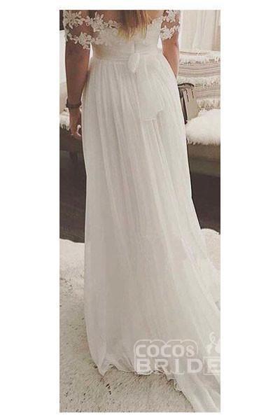 Simple A-Line Appliques Ivory Chiffon Beach Wedding Dress_2