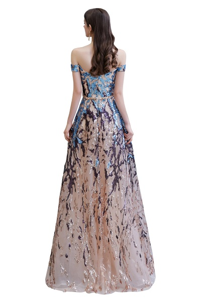 Off-the-Shoulder Sequins Long Multi-Color Prom Dress_16