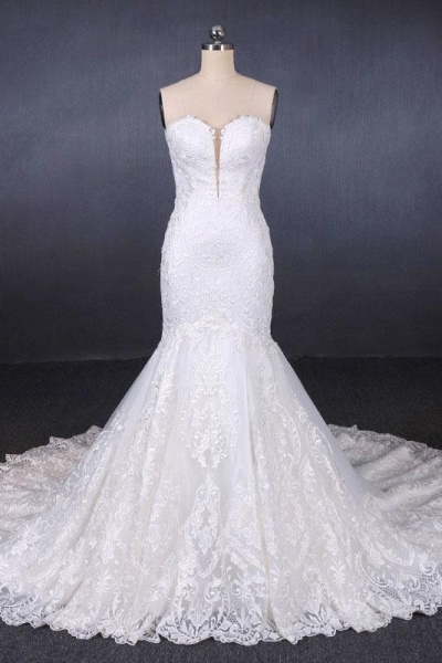Sweetheart Long Strapless Mermaid Lace Wedding Dress_1