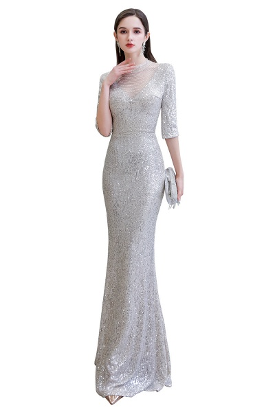 Gorgeous Silver Long sleeves Long Prom Dress_15