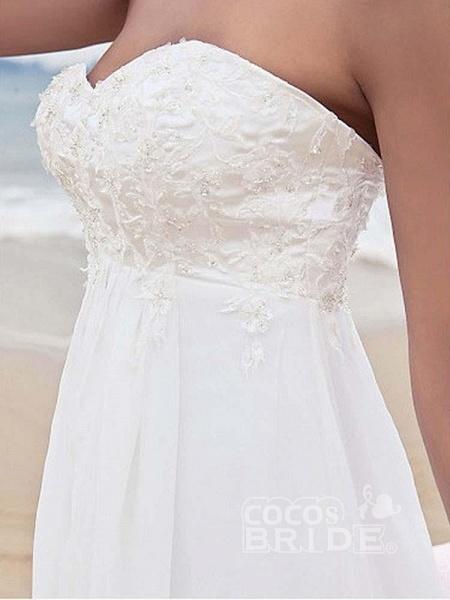High Waist Elegant Sweetheart Ruffles Wedding Dresses_5