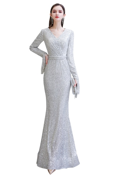 Gorgeous Sequins Long Sleeve V-Neck Mermaid Evening Gowns_2