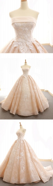 Nude Organza Strapless Sweep Train Lace Up Wedding Dress_5