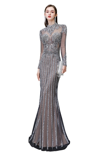 Long Sleeve Mermaid Sequins High-Neck Evening Gowns_1