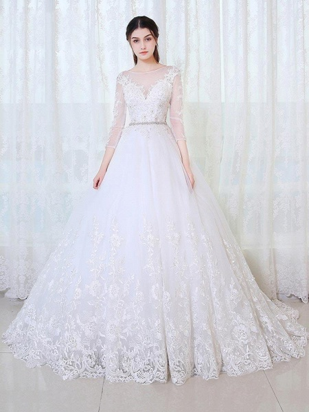 V-Neck 3/4 Sleeves Lace Ball Gown Wedding Dresses_1