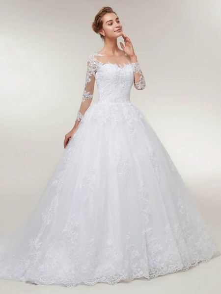 Glamorous Long Sleeves Lace-Up Ball Gown Wedding Dresses_1