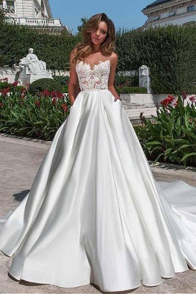 Lace Appliques Pockets A-line Satin Wedding Dress_1